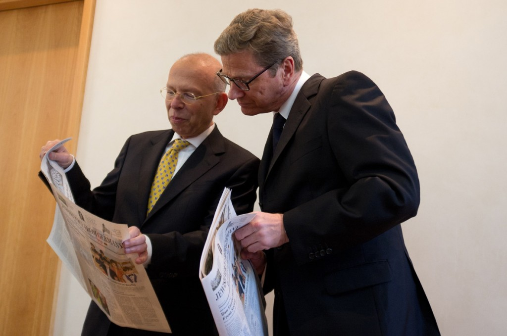 Germany's Foreign Minister Guido Westerwelle with publisher Rafael Seligmann