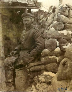 Soldier Ezechiel Hasgall in a trench near Notre Dame de Lorette, 1916