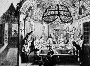 Bernard Picart: Dinner in the Sukkah, Amsterdam 1722 (Public Domain)