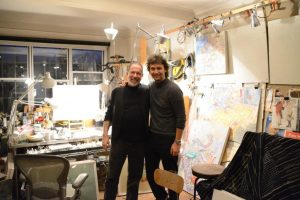 With tenor Jonas Kaufmann in his studio